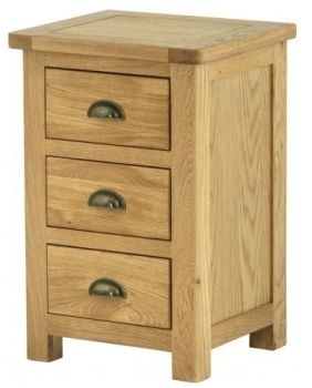 Purbeck Oak Bedside Chest - 3 Drawers