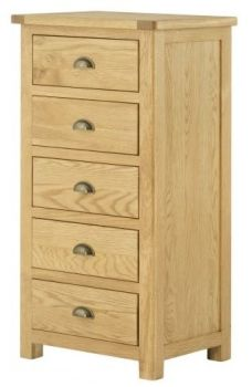 Purbeck Oak Chest - 5 Drawer Wellington