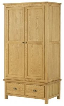 Purbeck Oak Wardrobe - 2 Door 2 Drawers