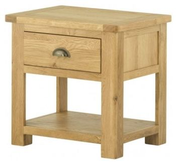 Purbeck Oak Lamp Table with Drawer