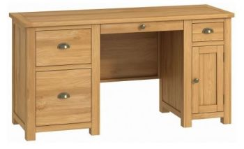 Purbeck Oak Office Double Pedestal Desk