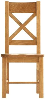 Heritage Oak Cross Back Dining Chair with Wooden Seat