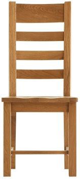 Heritage Oak Ladder Back Dining Chair with Wooden Seat