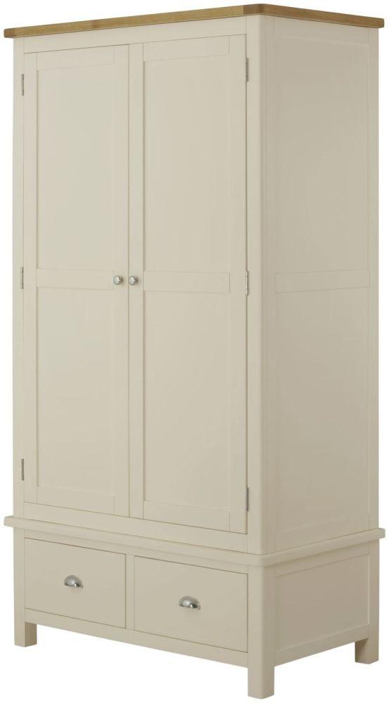 Purbeck Painted 2 Door 2 Drawer Wardrobe - Cream