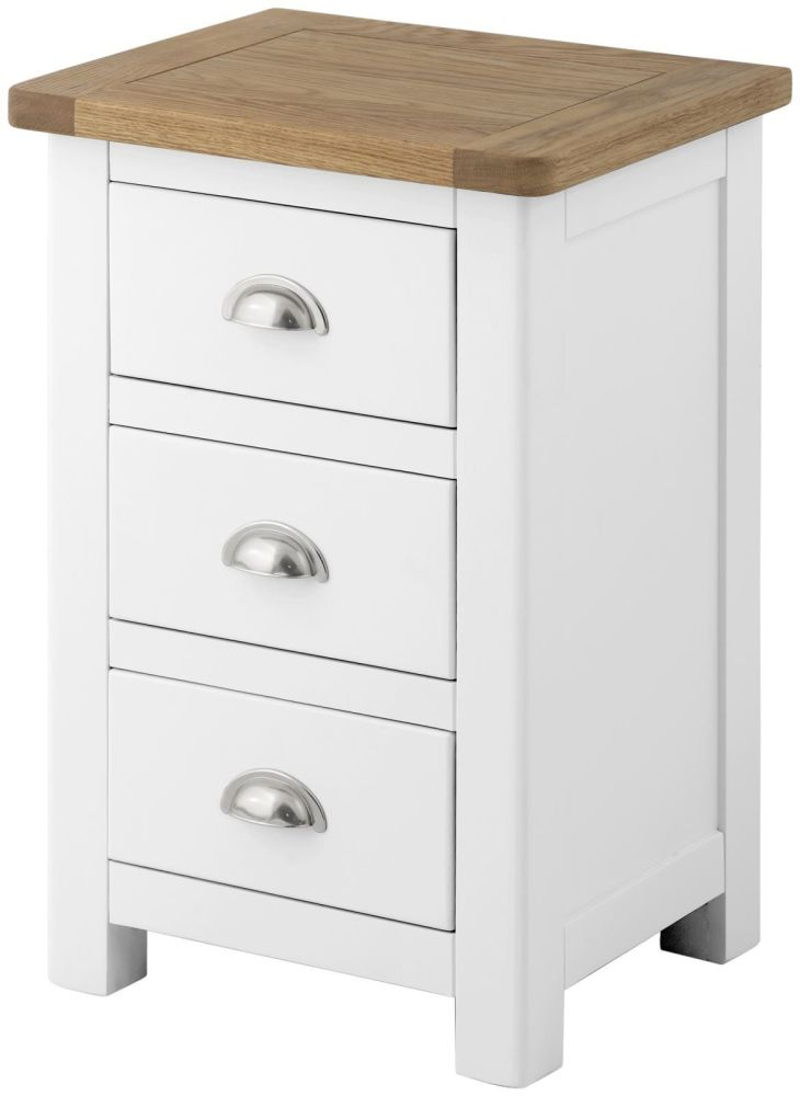 Purbeck Painted 3 Drawer Bedside - White