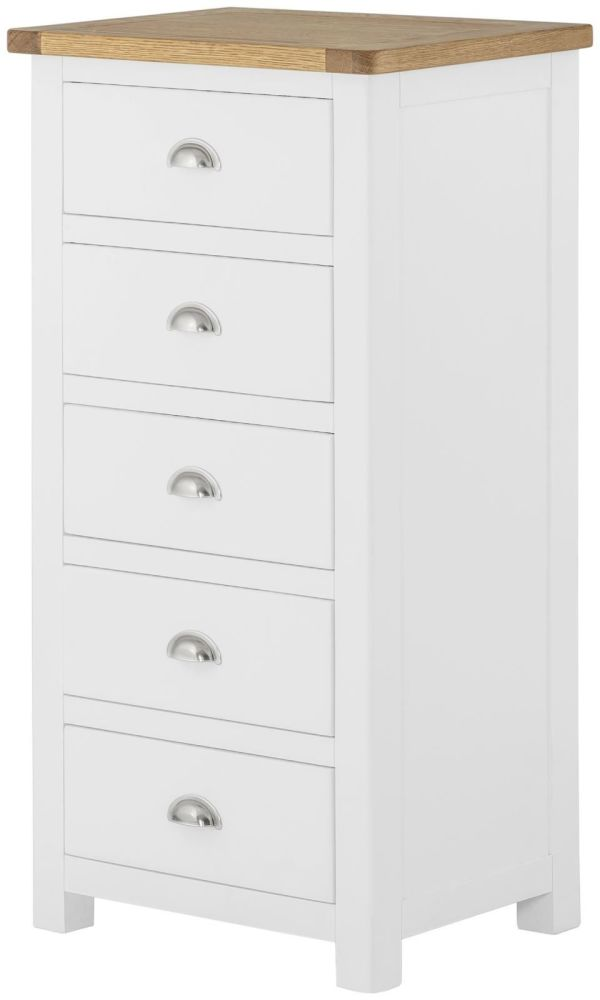 Purbeck Painted 5 Drawer Wellington Chest - White