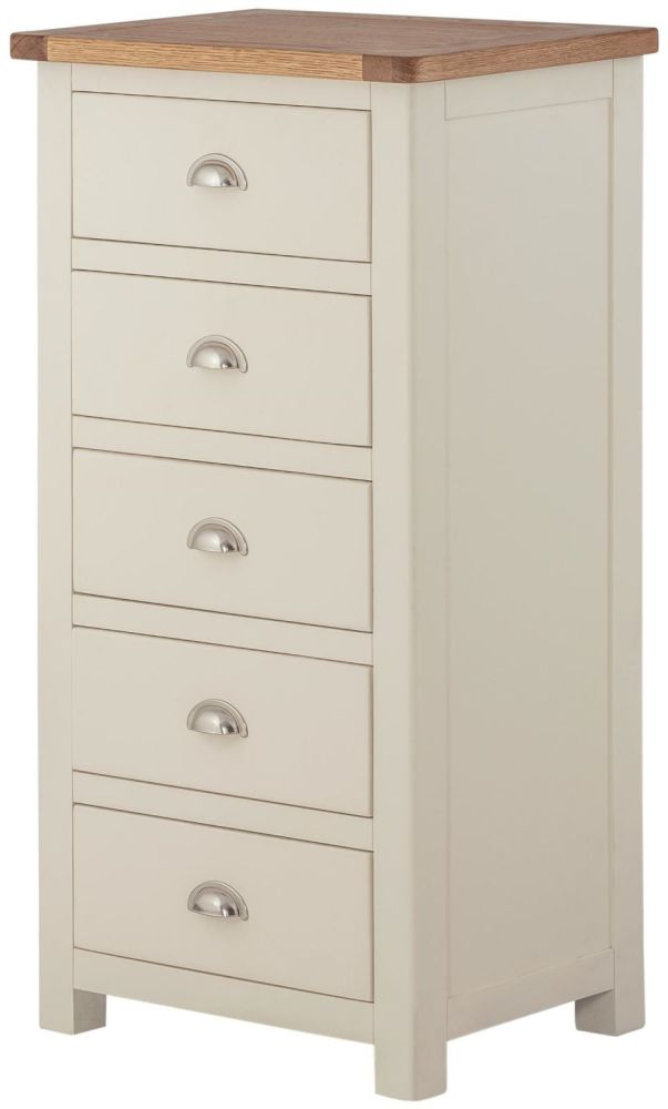 Purbeck Painted 5 Drawer Wellington Chest - Cream