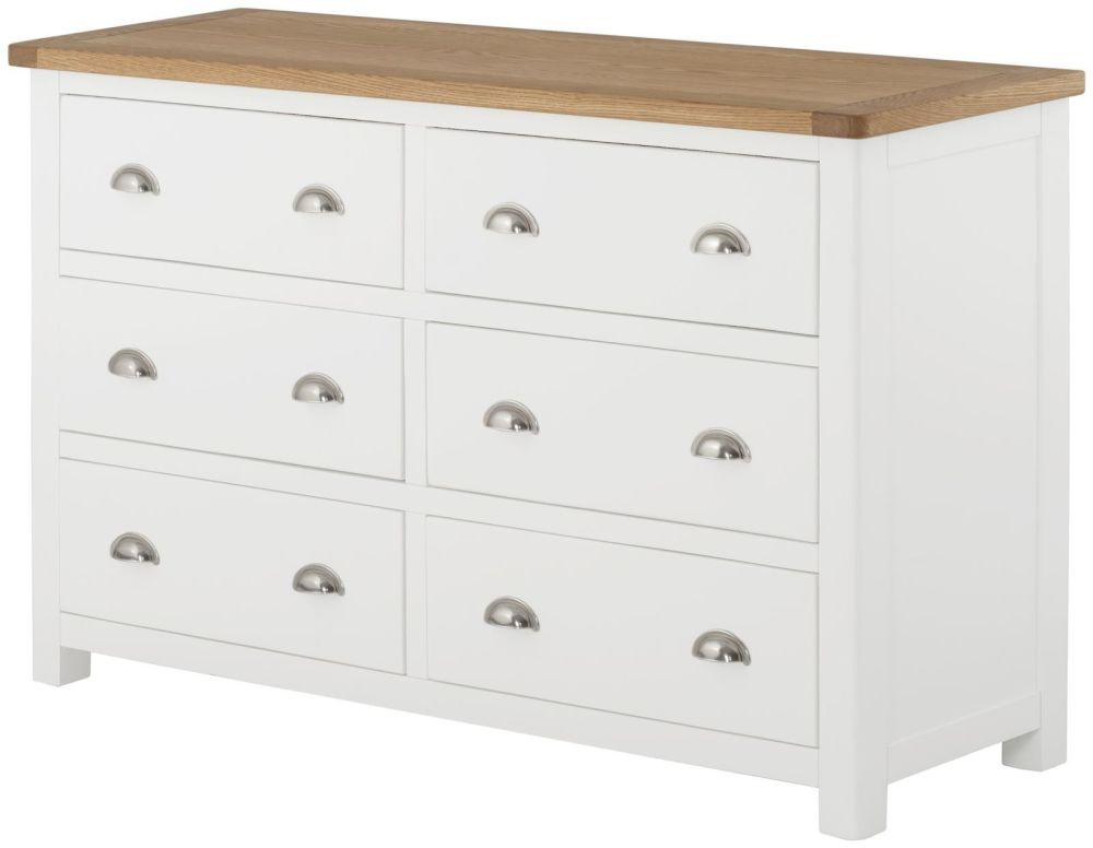 Purbeck Painted 6 Drawer Wide Chest - White