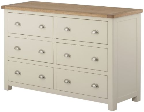 Purbeck Painted 6 Drawer Wide Chest - Cream