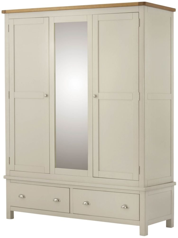 Purbeck Painted Triple Wardrobe - Cream