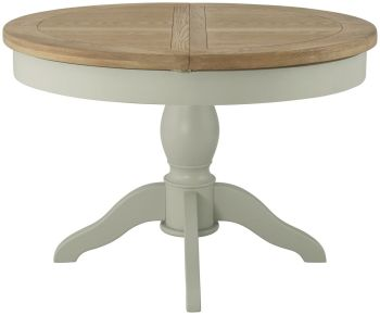Purbeck Grand Painted Round Butterfly Extending Table - Stone/Oak