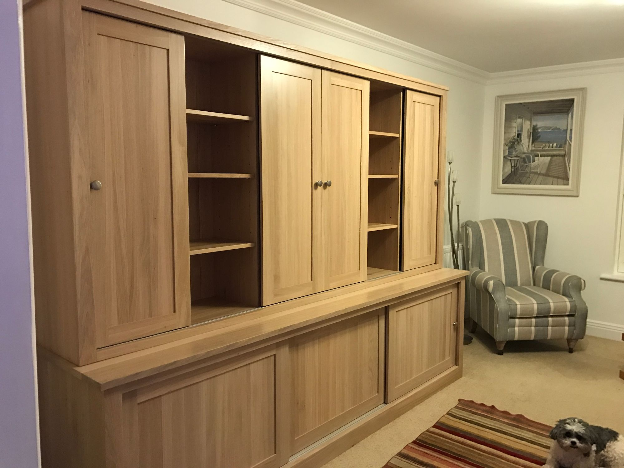 Large oak tv unit 1