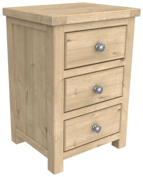 Brittany Oak 3 Drawer Bedside