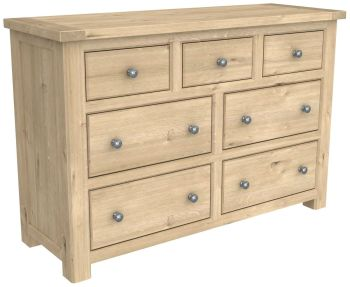 Brittany Oak 7 Drawer Wide Chest