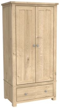 Brittany Oak 2 Door 1 Drawer Wardrobe