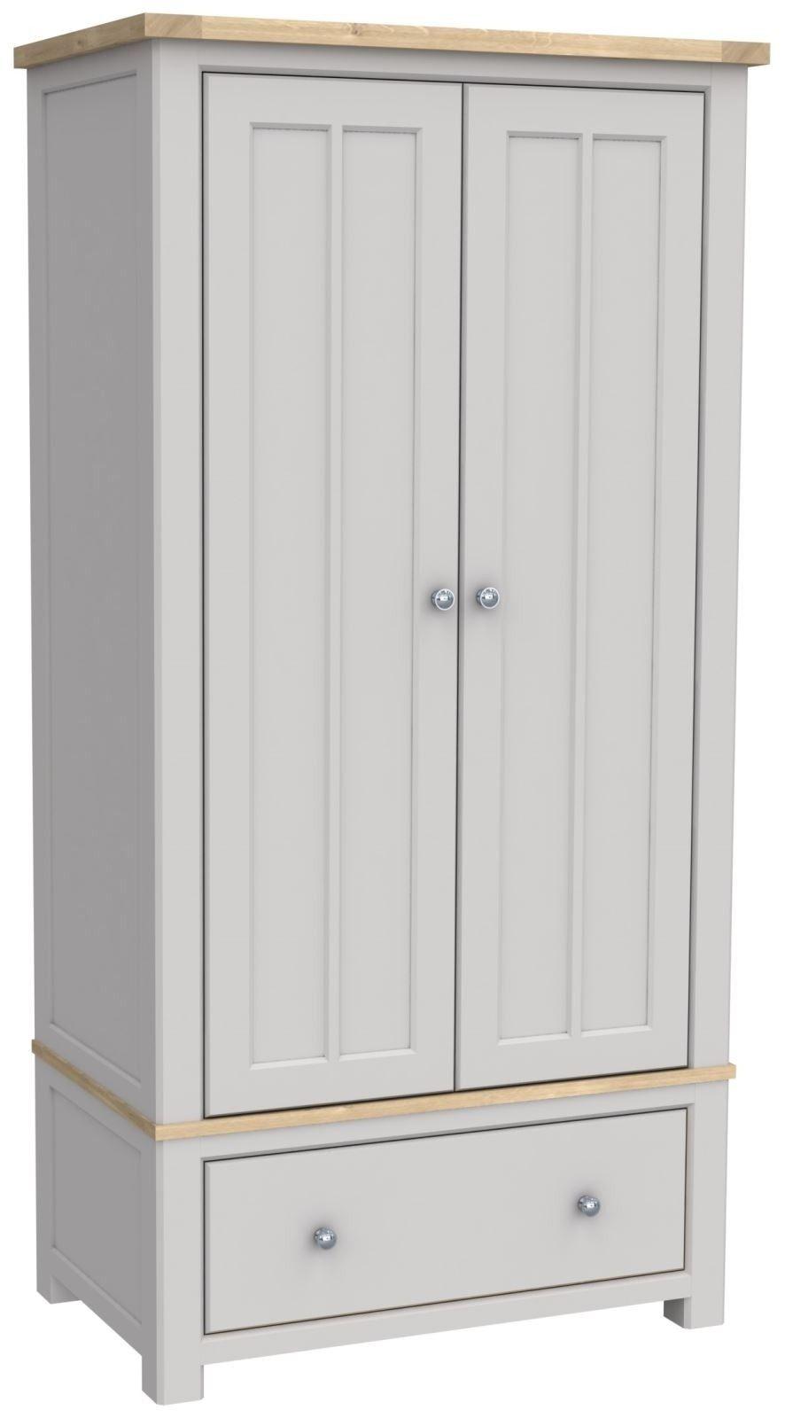 Brittany Oak 2 Door 1 Drawer Wardrobe