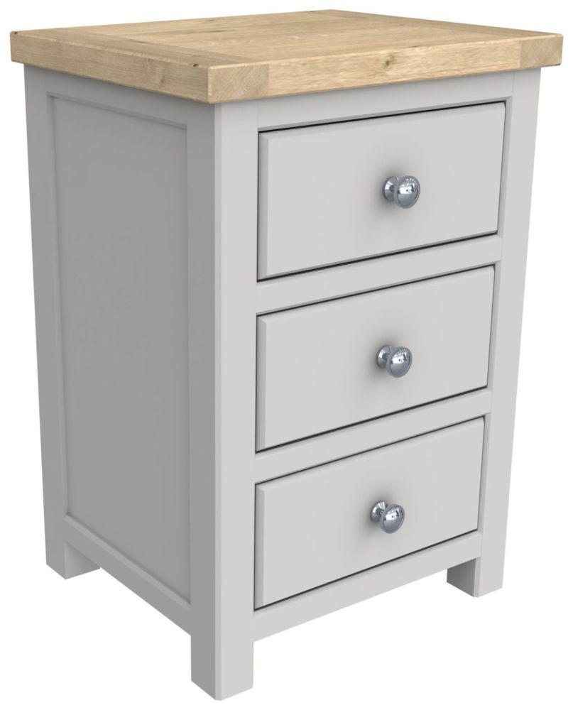 Brittany Oak 3 Drawer Bedside