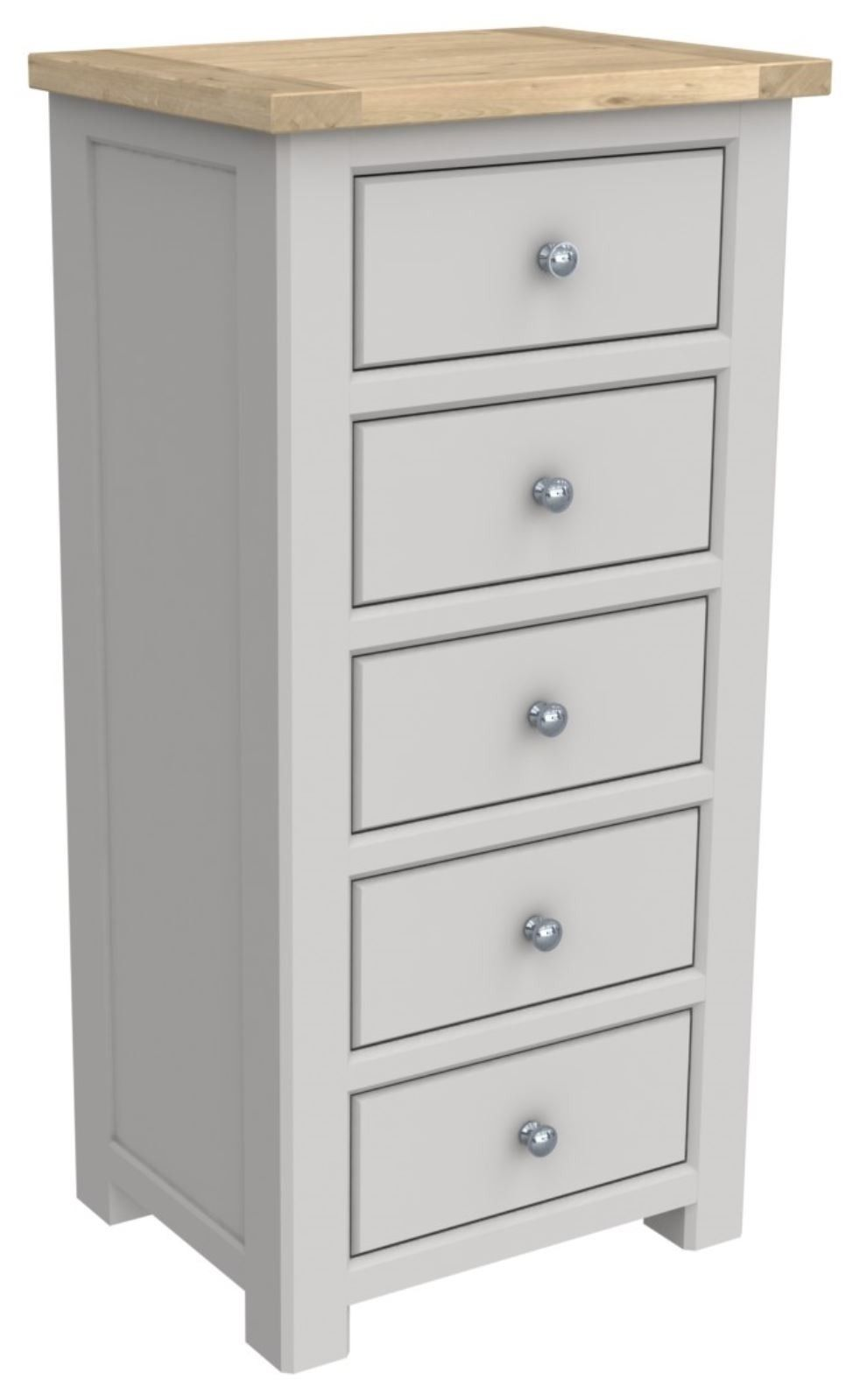 Brittany Oak 5 Drawer Tall Chest