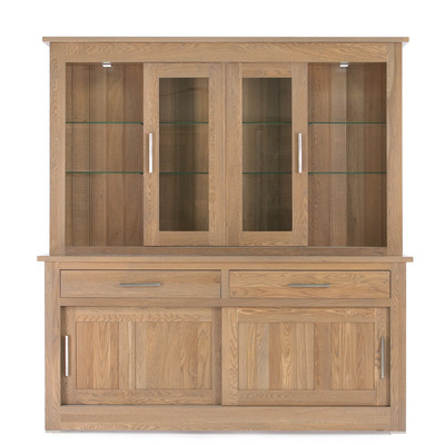 Quercus 1.5 2 Drawer Sliding Door Sideboard with Sliding Door Top
