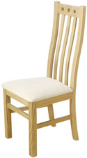 Winchester Oak High Back Side Chair with Upholstered Pad