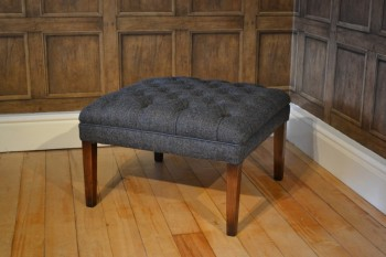 Harris Tweed MacKenzie Stool A - Hide Buttons & Piping