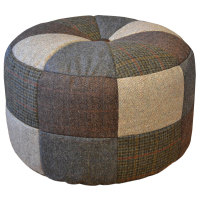Harris Tweed Pumpkin Stool Small - Patchwork
