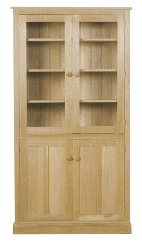 Chichester Tall Bookcase with Doors (Glazed Top Doors)