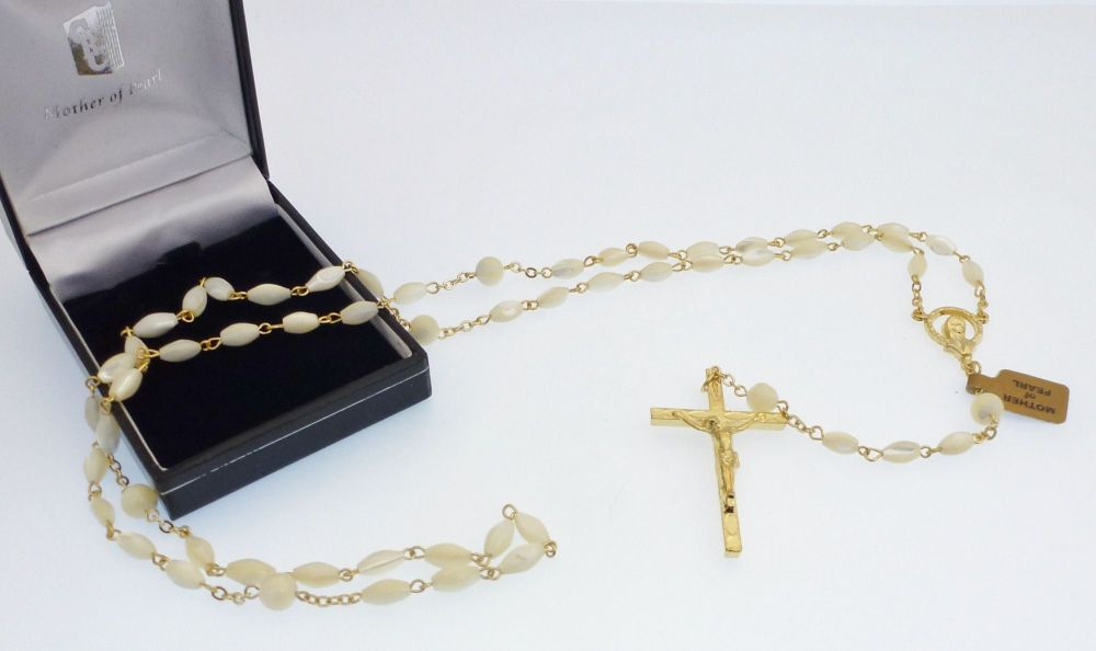 Mother of Pearl rosary beads in gift box oval gold chain hand made