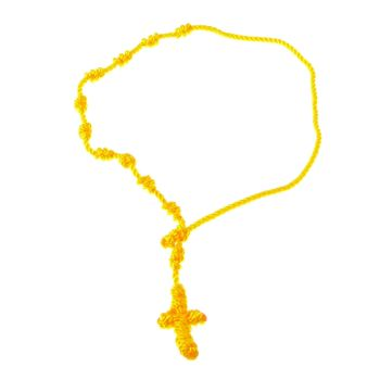 Rope rosary bracelet - in yellow - knotted cord