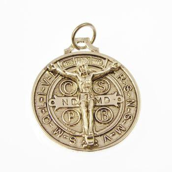 Saint Benedict 3cm riased Jesus silver medal