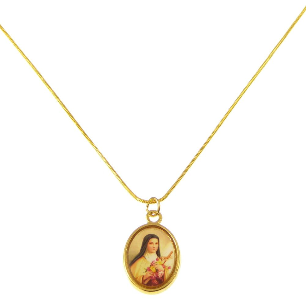 Gold metal St. Therese medal necklace - 17inch