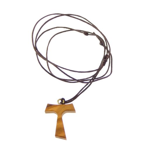 Brown wood Tau crucifix cross necklace black cord