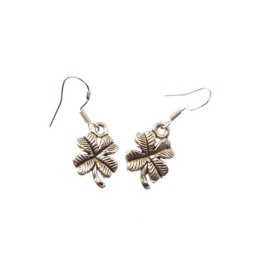 Four leaf clover dangly earrings sterling silver hooks 1.5cm