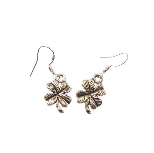 Four leaf clover dangly earrings sterling silver hooks 1.5cm