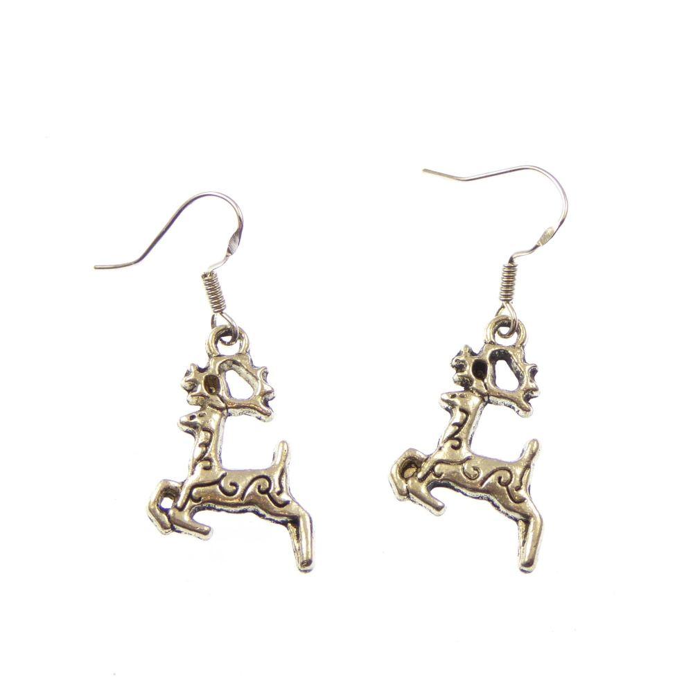 Christmas reindeer dangly drop earrings sterling silver wire