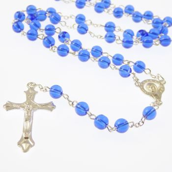 Deep royal blue Catholic rosary beads Our Lady center