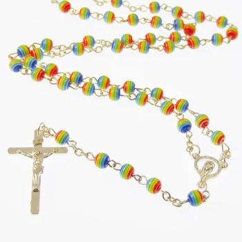 Rainbow rosary beads necklace, each bead is a rainbow