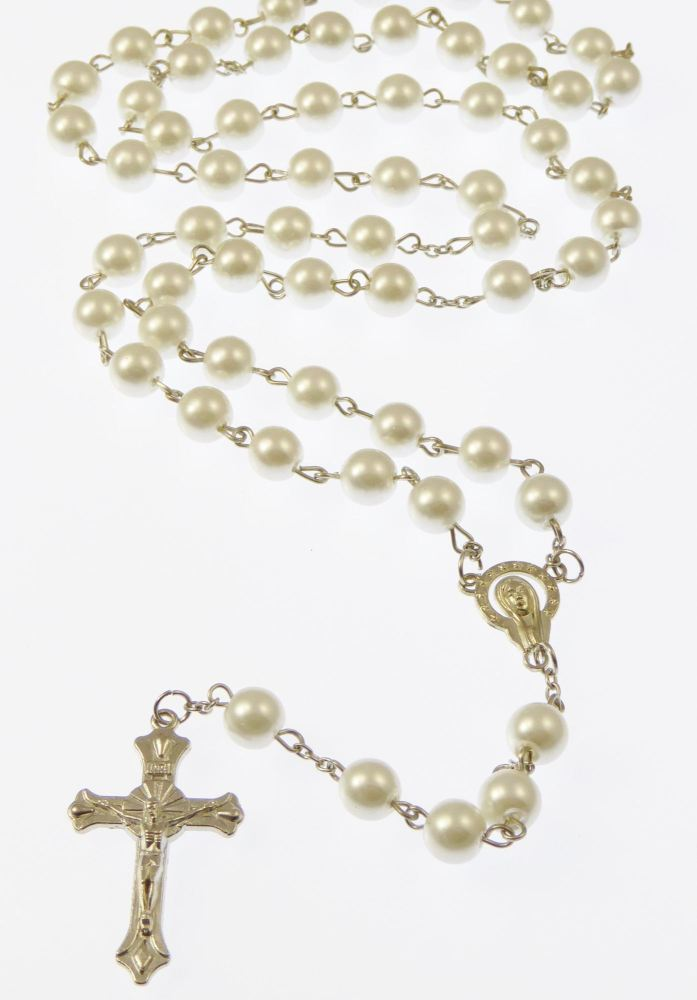Long white metal long Catholic rosary beads with Our Lady center