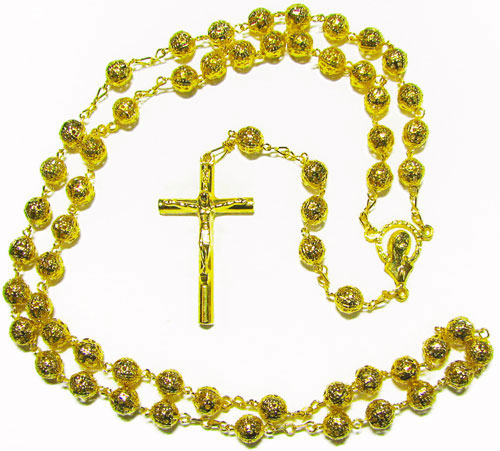 Gold metal filigree rosary beads 6mm beads gold crucifix our lady Catholic