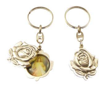 Silver rose slider Divine Mercy Jesus keyring gift 8cm