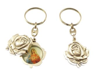 Silver rose slider Immaculate Heart Mary keyring gift 8cm