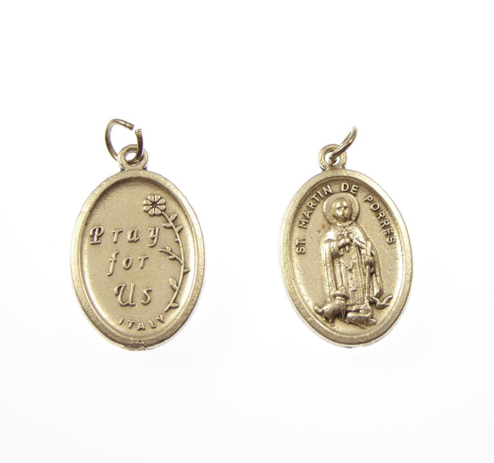 St. Martin de Porres silver metal medal for rosary beads pendant