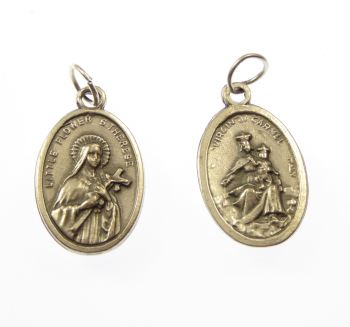 Virgin of Carmel & St. Therese silver metal medal rosary beads pendant