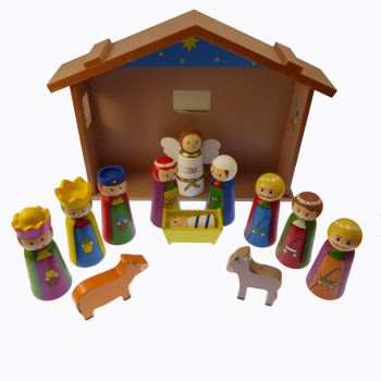 "4"" figures Children's Christmas Nativity scene set ornament wood shed"