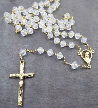 Clear matte glass rosary beads in crystal colour - 6mm