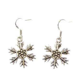 Snow flake silver earrings on sterling silver hooks