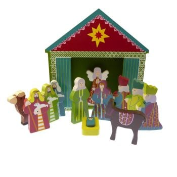 Children's Christmas Nativity scene set ornament wood shed 13 pieces