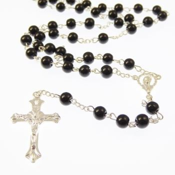 Black round glass Catholic rosary beads Our Lady center
