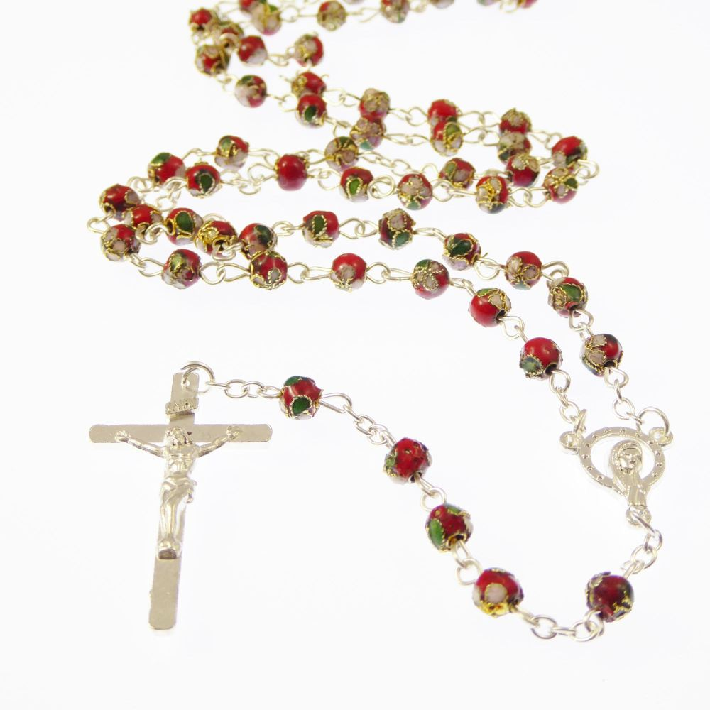 Red, green and white cloisonne rosary beads silver colour chain
