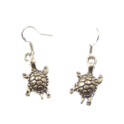 Turtle earrings, dangly - sterling silver hooks
